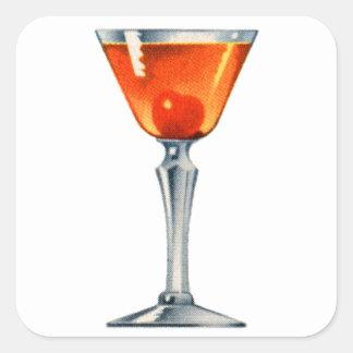 Vintage Cocktail Booze Drink Manhattan Square Sticker