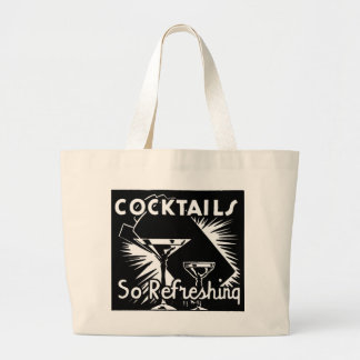"""Vintage Cocktails Are """"So Refreshing"""" Large Tote Bag"""