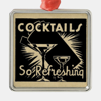 """Vintage Cocktails Are """"So Refreshing"""" Metal Ornament"""