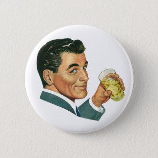 Vintage Cocktails Beverages, Man Drinking Drinks Button