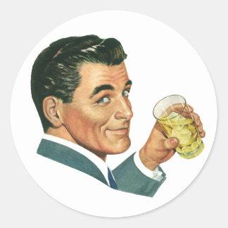 Vintage Cocktails Beverages, Man Drinking Drinks Classic Round Sticker