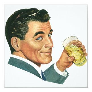 Vintage Cocktails Beverages, Man Drinking Drinks 5.25x5.25 Square Paper Invitation Card