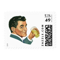 Vintage Cocktails Beverages, Man Drinking Drinks Postage