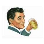 Vintage Cocktails Beverages, Man Drinking Drinks Postcard