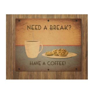 Vintage coffee ad wood wall decor