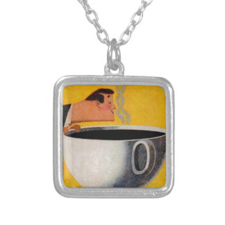 Vintage Coffee Advertisement Square Pendant Necklace