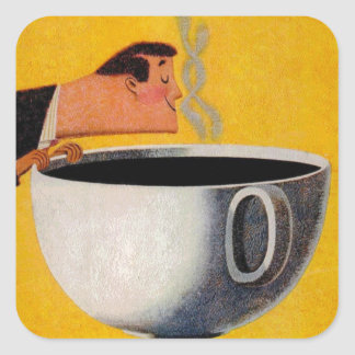 Vintage Coffee Advertisement Square Sticker