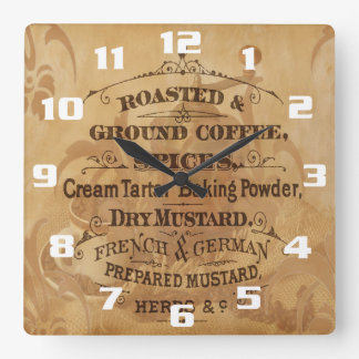 Vintage Coffee and Spices Rustic Kitchen Square Wall Clock