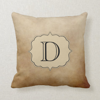 Vintage Coffee Brown Cream Ivory Ombre Monogram Throw Pillow