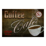 VINTAGE COFFEE CAFE' POSTER POSTER