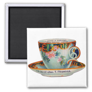 Vintage Coffee Cup 2 Inch Square Magnet