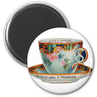 Vintage Coffee Cup 2 Inch Round Magnet