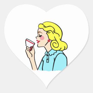 VINTAGE COFFEE DRINKER HEART STICKER