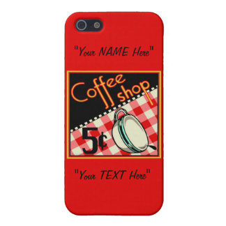 "Vintage Coffee ""EDIT ME"" Coffee Shop Art Poster Case For iPhone SE/5/5s"