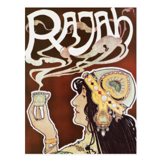 Vintage Coffee Girly Nouveau Ad - Rajah Coffee Postcard