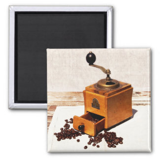 vintage coffee mill and coffee beans magnet