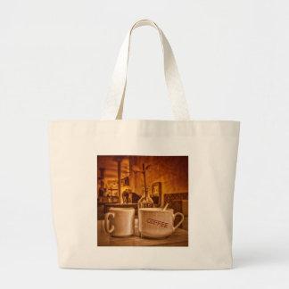 Vintage Coffee Mugs Cafe Sepia Photo Design Tote Bags