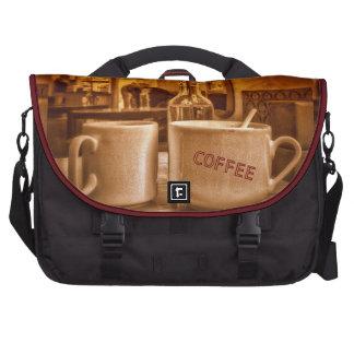 Vintage Coffee Mugs Cafe Sepia Photo Design Laptop Bag