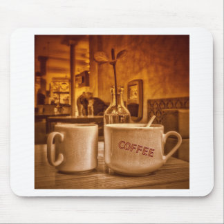 Vintage Coffee Mugs Cafe Sepia Photo Design Mousepad