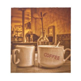 Vintage Coffee Mugs Cafe Sepia Photo Design Memo Pads