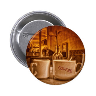 Vintage Coffee Mugs Cafe Sepia Photo Design Pinback Button