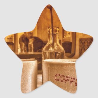 Vintage Coffee Mugs Cafe Sepia Photo Design Star Sticker
