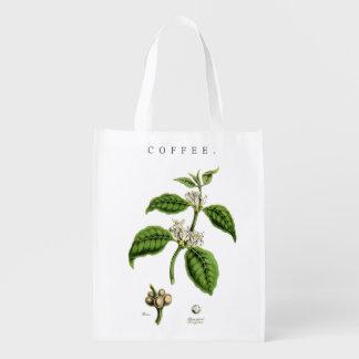 Vintage Coffee Plant Illustration Reusable Grocery Bag