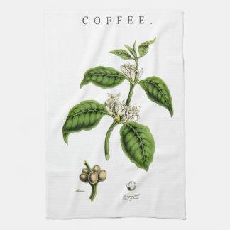 Vintage Coffee Plant Illustration Towels