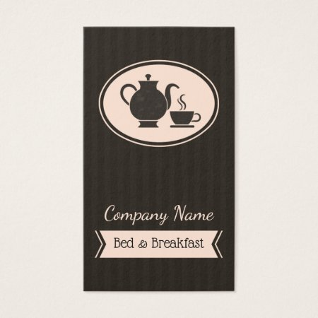 Light Pink and Black Pinstripe Vintage Coffee Pot and Coffee Cup B&B Bed and Breakfast Business Cards Template