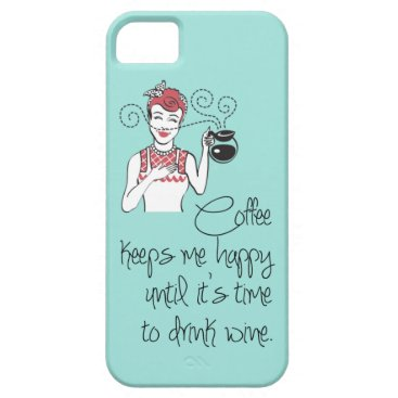 Coffee Themed Vintage Coffee & Wine iPhone 5 Case