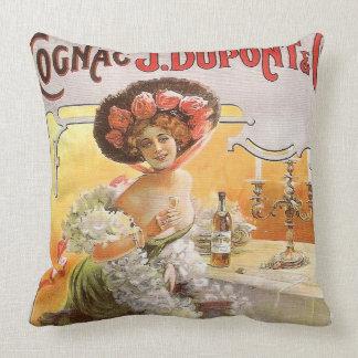 Vintage Cognac Advertisement Throw Pillow