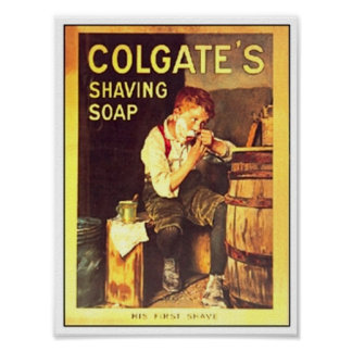 Vintage Colgate Shaving Soap Boy Shaving Poster