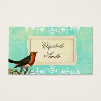 Vintage Collage Bird Blue Business Card