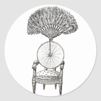 Vintage collage chair, bicycle and fan - steampunk classic round sticker