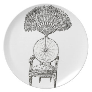 Vintage collage chair, bicycle and fan - steampunk melamine plate