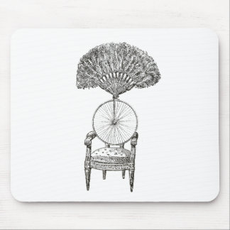 Vintage collage chair, bicycle and fan - steampunk mouse pad