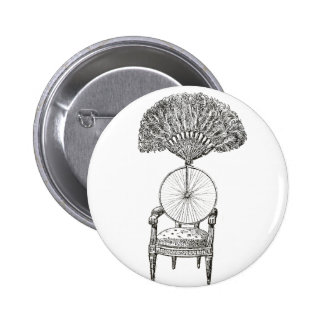 Vintage collage chair, bicycle and fan - steampunk pinback button