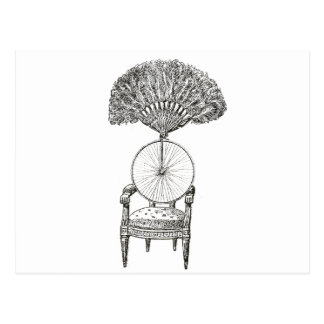 Vintage collage chair, bicycle and fan - steampunk postcard
