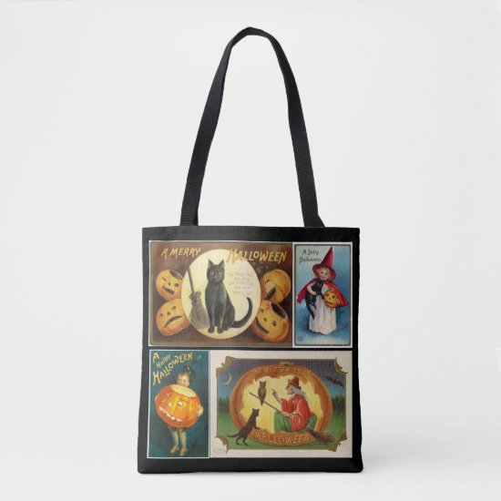 Vintage Collage Cute Halloween Trick or Treat Tote Bag