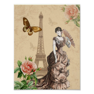 Vintage collage fashion poster with flowers