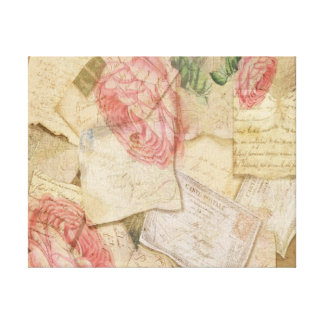 Vintage Collage, French Letters and Post Cards Canvas Print