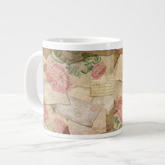 Vintage Collage, French Letters and Post Cards Large Coffee Mug