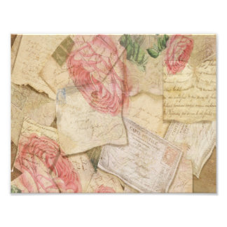 Vintage Collage, French Letters and Post Cards Photo Print