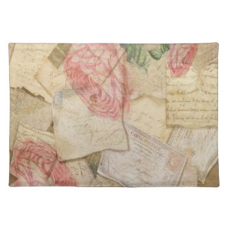 Vintage Collage, French Letters and Post Cards Placemat