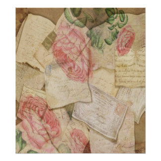 Vintage Collage, French Letters and Post Cards Print
