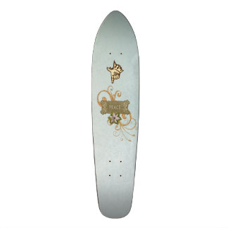 Vintage Collage, Peace, Swirls, Pointing Finger Skate Board Decks