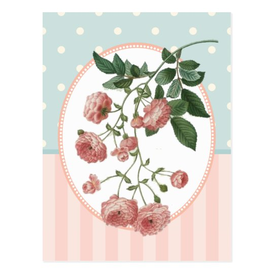 Vintage Collage Pink Roses Botanical Print Postcard