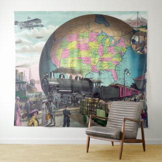 Vintage Collage Twentieth Century Transport Train Tapestry