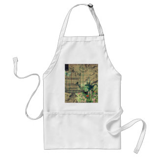 Vintage Collage w/Bird & Birdcage Garden Adult Apron