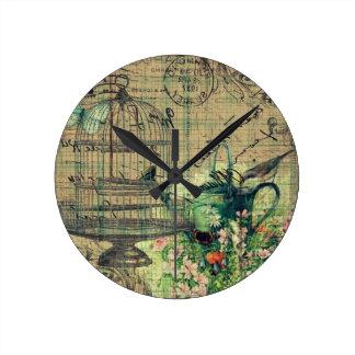 Vintage Collage w Bird Birdcage Garden Clocks